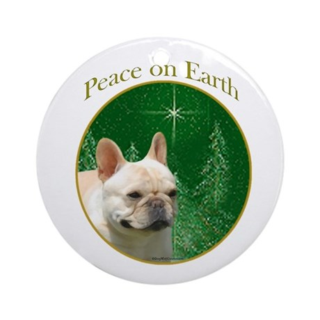 Frenchie Peace Ornament (Round)