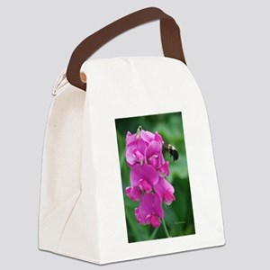 Sweet Pea with Bee Canvas Lunch Bag