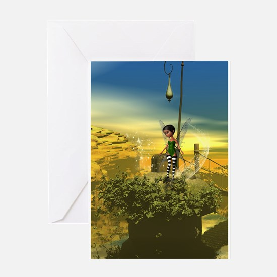Cute fairy on a rock Greeting Cards