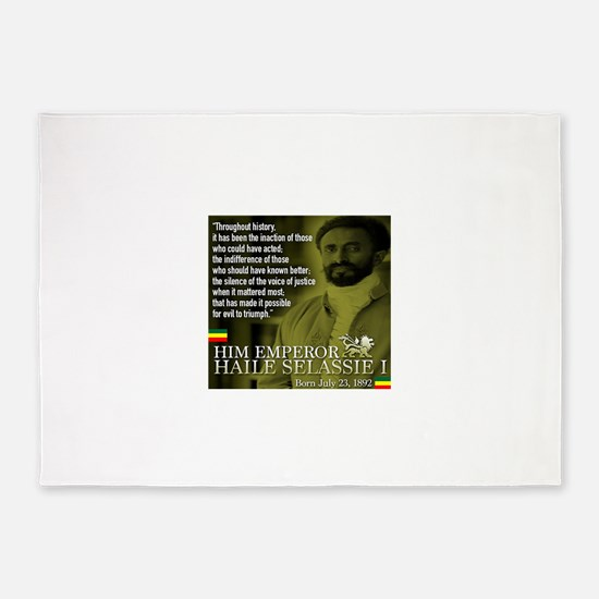 HIM Emperor Haile Selassie I 5'x7'Area Rug