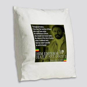 HIM Emperor Haile Selassie I Burlap Throw Pillow