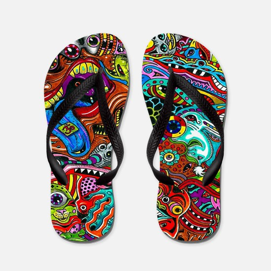 Abstract Painting Flip Flops