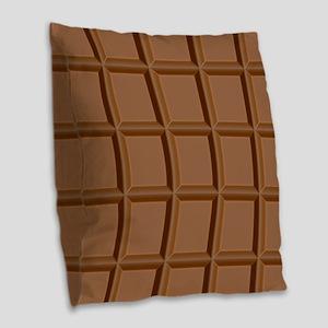 Chocolate Tiles Burlap Throw Pillow