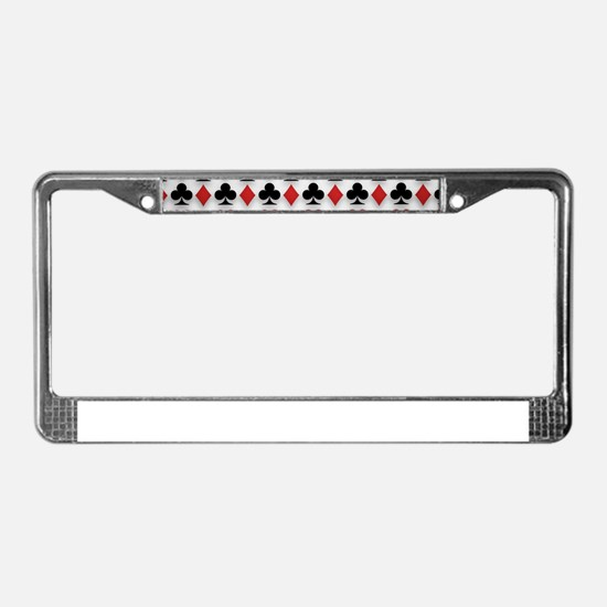 Spades Clubs Diamonds and Hearts License Plate Fra