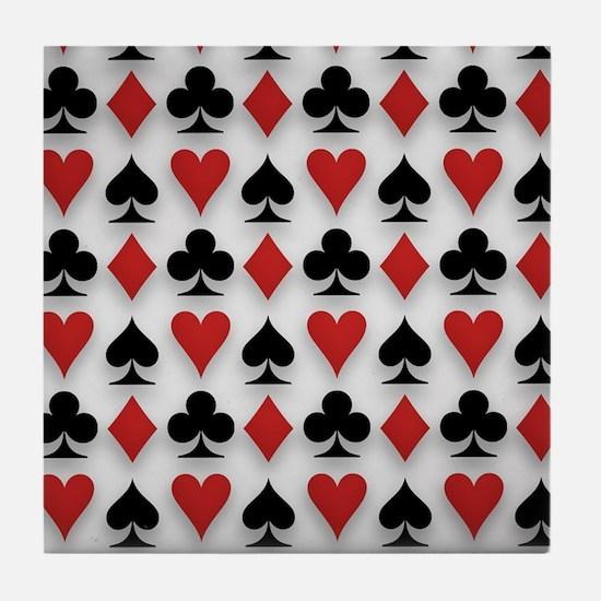 Spades Clubs Diamonds and Hearts Tile Coaster