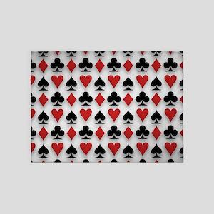 Spades Clubs Diamonds and Hearts 5'x7'Area Rug