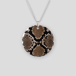 Snake Skin Necklace Circle Charm