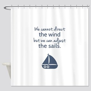 Sail Boat Positive Mindset Quote Shower Curtain