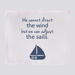 Sail Boat Positive Mindset Quote Throw Blanket