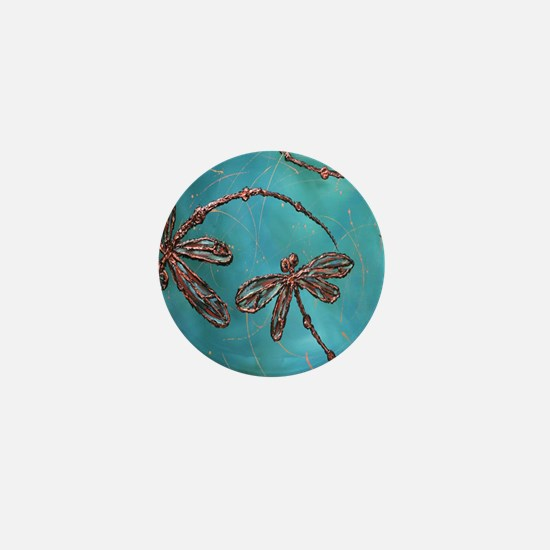 Dragonfly Flit Teal Mini Button