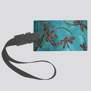 Dragonfly Flit Teal Large Luggage Tag