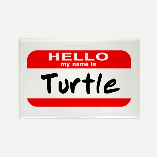 Hello My Name Is Turtle Rectangle Magnet