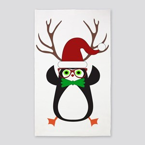 Cute Funny Hipster Xmas penguin Area Rug