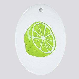 Tropical Summer Lime Oval Ornament