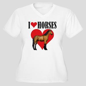 I Love Horses ~ B Women's Plus Size V-Neck T-Shirt