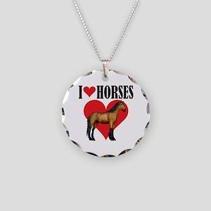 I Love Horses ~ Buckskin Necklace Circle Charm