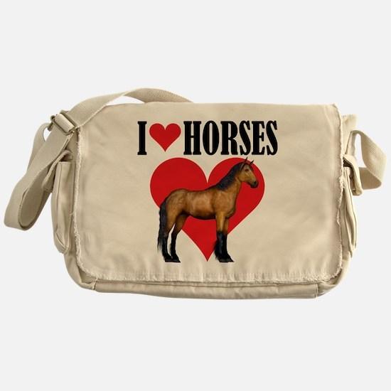 I Love Horses ~ Buckskin Messenger Bag