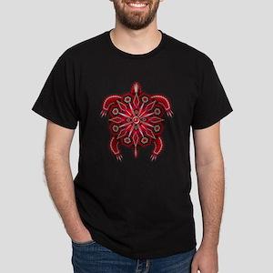 Red Native American Beadwork Turtle Dark T-Shirt