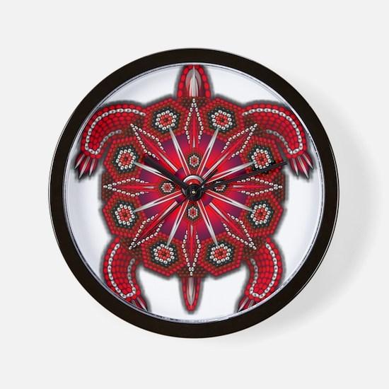 Red Native American Beadwork Turtle Wall Clock
