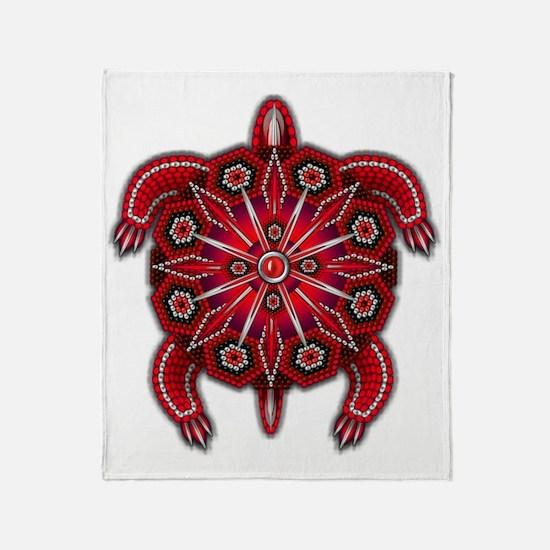 Red Native American Beadwork Turtle Throw Blanket