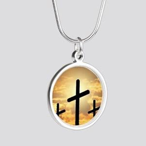The Cross Silver Round Necklace