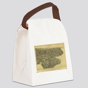 Vintage Pictorial Map of Brooklyn Canvas Lunch Bag