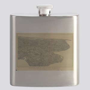 Vintage Pictorial Map of Brooklyn NY (1897) Flask