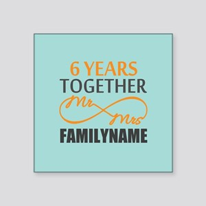 "6th Anniversary Infinity Pe Square Sticker 3"" x 3"""