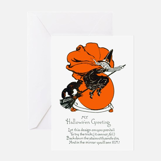 Halloween Black Cat & Witch Greeting Card