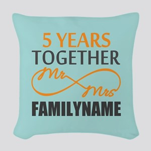 5th Anniversary Infinity Perso Woven Throw Pillow