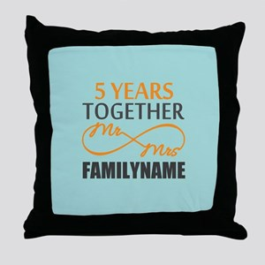5th Anniversary Infinity Personalized Throw Pillow