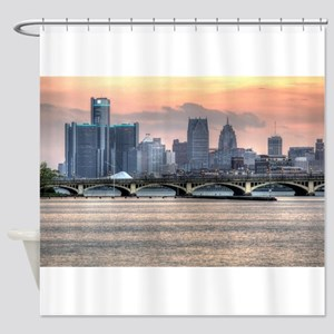Detroit HDR Skyline II - Rotated Shower Curtain