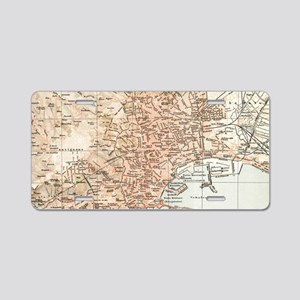 Vintage Map of Naples Italy Aluminum License Plate