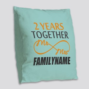 2nd Anniversary Infinity Perso Burlap Throw Pillow