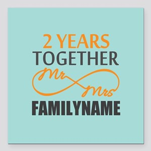 """2nd Anniversary Infinity Square Car Magnet 3"""" x 3"""""""