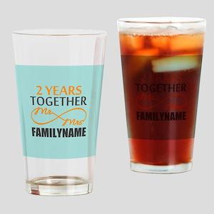 2nd Anniversary Infinity Personaliz Drinking Glass