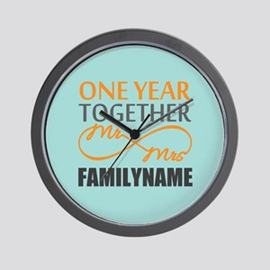 1st Anniversary Infinity Personalized Wall Clock