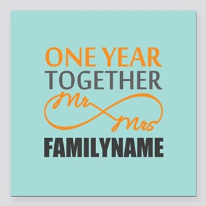"""1st Anniversary Infinity Square Car Magnet 3"""" x 3"""""""