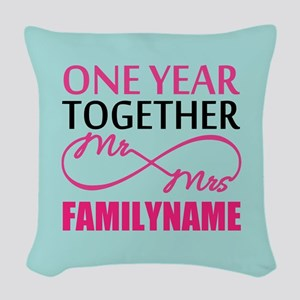 1st Anniversary Infinity Perso Woven Throw Pillow