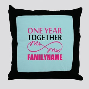 1st Anniversary Infinity Personalized Throw Pillow