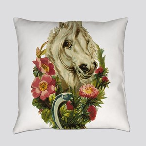 White horse and flowers Everyday Pillow
