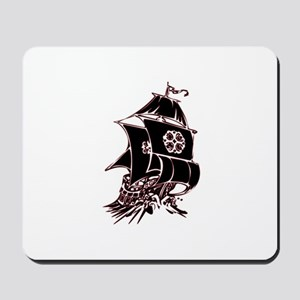 Black Pirate Ship Mousepad