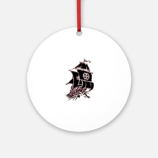 Black Pirate Ship Round Ornament