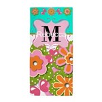 Cute Flowers Monogram Beach Towel