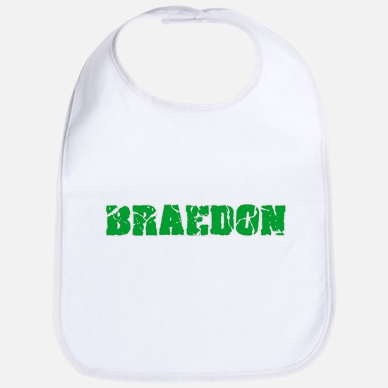 Braedon Name Weathered Green Design Baby Bib