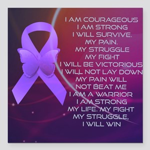 """I am Strong Square Car Magnet 3"""" x 3"""""""
