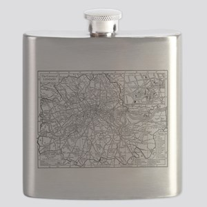 Vintage Map of London England (1911) Flask