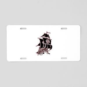 Black Pirate Ship Aluminum License Plate