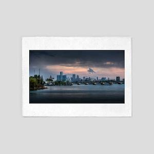 Detroit City Skyline HDR Photo 5'x7'Area Rug