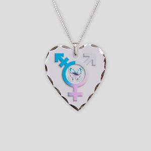 Transgender Butterfly Symbol Necklace Heart Charm